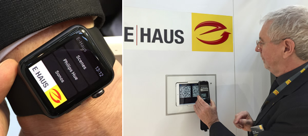 ZVEH's Bernd Dechert showing control of the E-Haus via smart watch (left) and QR code (right).