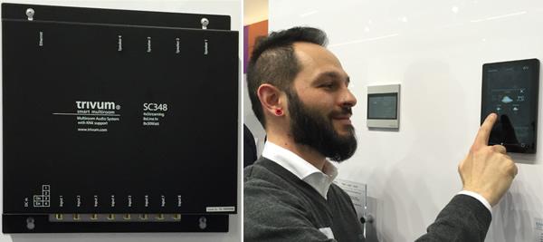 (Left) the Trivum SC348 four-zone multiroom audio system, and (right) Trivum's Antonio Raimondo demonstrating the Trivum TouchPad.